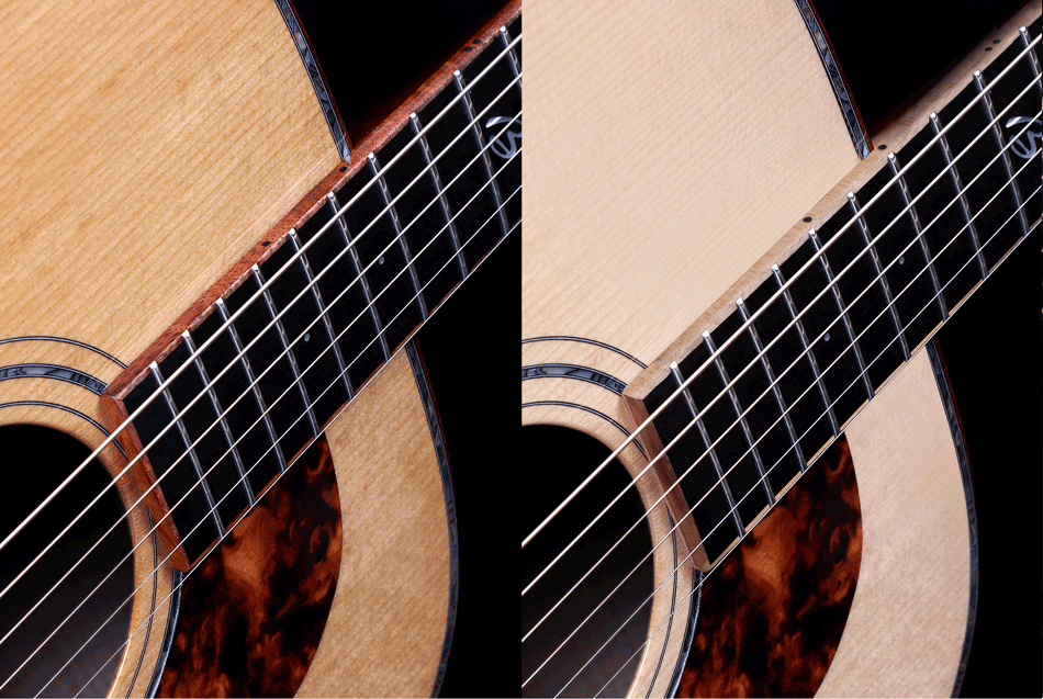 Koa or maple neck bindings